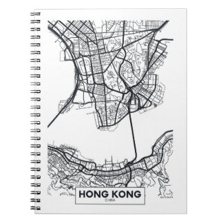 Hong Kong, China | Black and White City Map Notebook