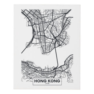 Hong Kong, China | Black and White City Map Panel Wall Art
