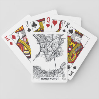 Hong Kong, China | Black and White City Map Playing Cards