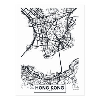 Hong Kong, China | Black and White City Map Postcard