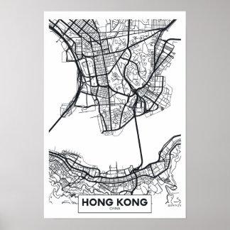 Hong Kong, China   Black and White City Map Poster