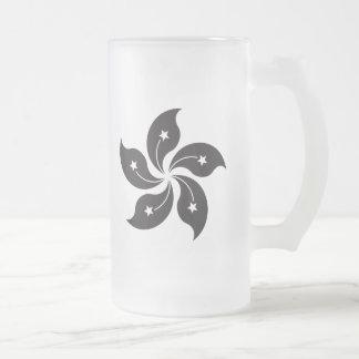Hong Kong China Flag - Black 16 Oz Frosted Glass Beer Mug