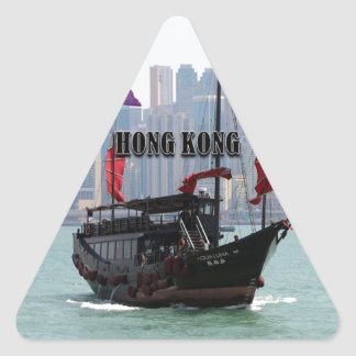 Hong Kong: Chinese junk 2 Triangle Sticker