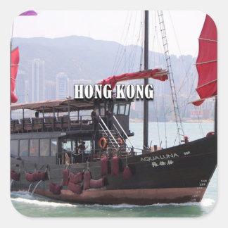 Hong Kong: Chinese junk Square Sticker