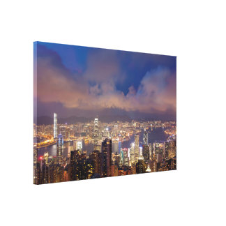 Hong Kong City and Victoria Harbour View Canvas