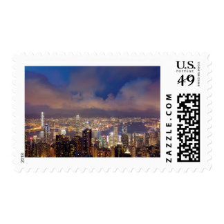 Hong Kong City and Victoria Harbour View Postcard Postage