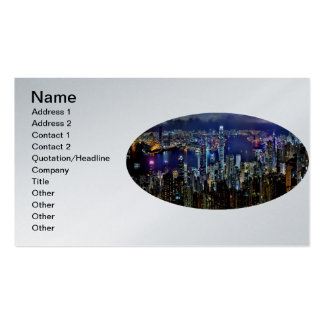 Hong Kong City Skyline Lights at Night Double-Sided Standard Business Cards (Pack Of 100)