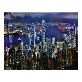 "Hong Kong City Skyline Lights at Night 8.5"" X 11"" Flyer"