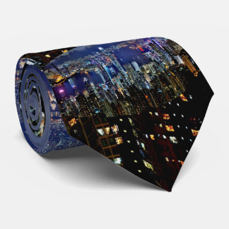 Hong Kong City Skyline Lights at Night Neck Tie