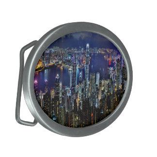 Hong Kong City Skyline Lights at Night Oval Belt Buckle
