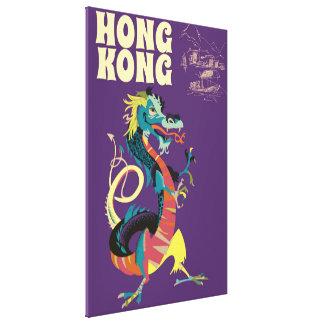 Hong Kong Dragon vintage travel poster Canvas Print