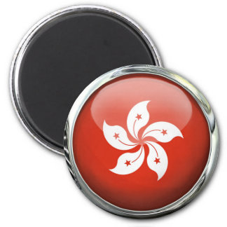 Hong Kong Flag Glass Ball Magnet