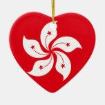 Hong Kong Flag Heart Ornaments
