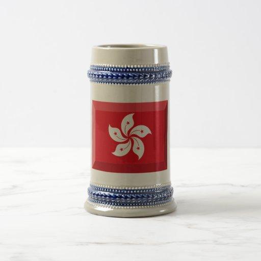 Hong Kong Flag Jewel 18 Oz Beer Stein