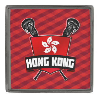 Hong Kong Flag Lacrosse Logo Gunmetal Finish Lapel Pin
