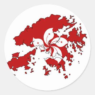 Hong Kong flag map Classic Round Sticker