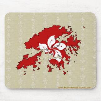 Hong Kong Flag Map full size Mouse Pad