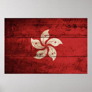 Hong Kong Flag on Old Wood Grain Print