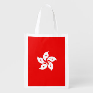 Hong Kong Flag White Orchid on Red Grocery Bag