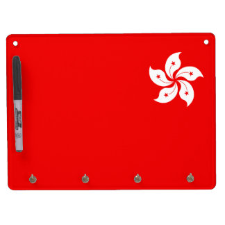 Hong Kong Flag White Orchid Symbol on red Dry Erase Board With Keychain Holder