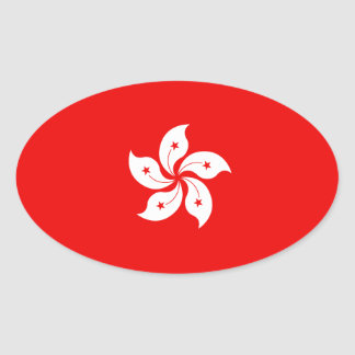 Hong Kong Flag White Orchid Symbol Oval Sticker