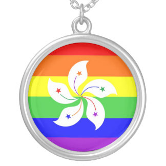 hong kong gay proud rainbow flag homosexual round pendant necklace