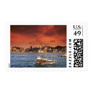 Hong Kong Harbor at Sunset Postage