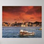 Hong Kong Harbor at Sunset Poster