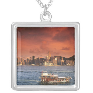 Hong Kong Harbor at Sunset Square Pendant Necklace