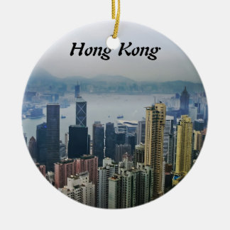 Hong Kong Harbor Mists Double-Sided Ceramic Round Christmas Ornament