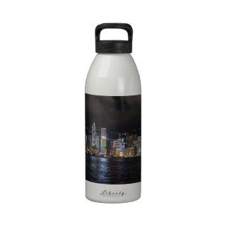 Hong Kong Harbour at night Water Bottle
