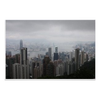 Hong Kong in Mist Poster