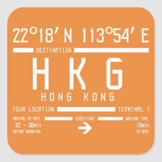 Hong Kong International Airport Code Square Sticker