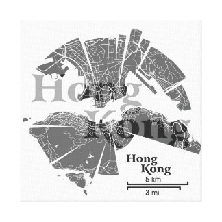 Hong Kong Map Wrapped Canvas