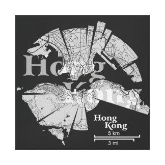 Hong Kong Map Wrapped Canvas Canvas Print