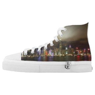 Hong Kong Modern City Nightlife High Top Shoes