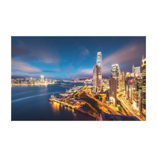Hong Kong Night City Skyline Premium Canvas Canvas Print