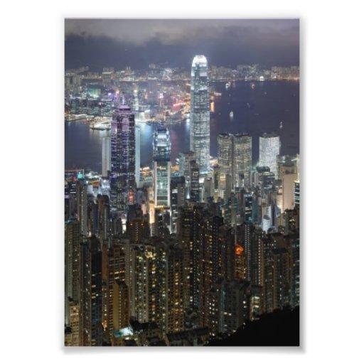 Hong Kong Night Skyline Art Photo