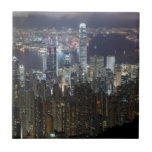 Hong Kong Night Skyline Ceramic Tile