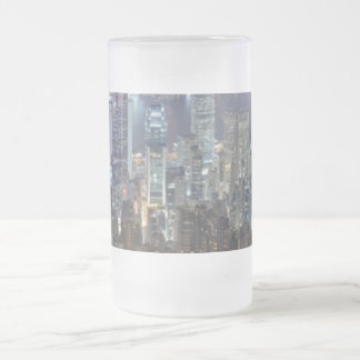 Hong Kong Night Skyline from Victoria Peak Frosted Glass Beer Mug