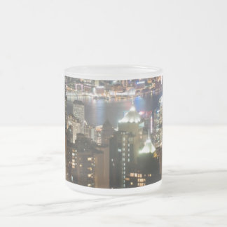 Hong Kong Night Skyline from Victoria Peak Frosted Glass Coffee Mug