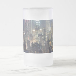 Hong Kong Night Skyline from Victoria Peak 16 Oz Frosted Glass Beer Mug