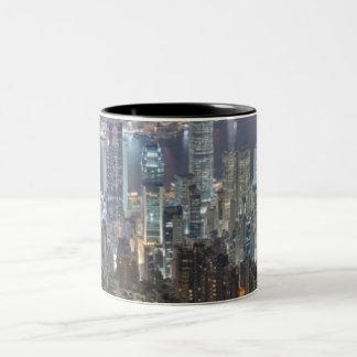 Hong Kong Night Skyline from Victoria Peak Two-Tone Coffee Mug