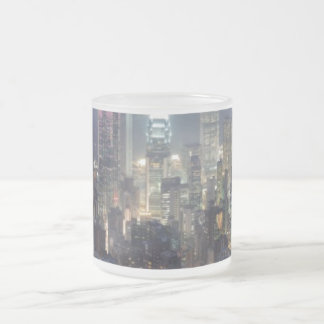 Hong Kong Night Skyline from Victoria Peak 10 Oz Frosted Glass Coffee Mug