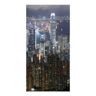 Hong Kong Night Skyline Custom Photo Card