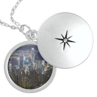 Hong Kong Night Skyline Round Locket Necklace