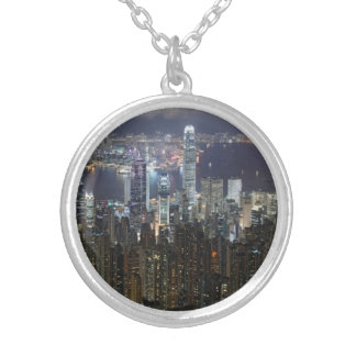 Hong Kong Night Skyline Round Pendant Necklace