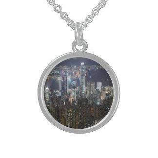 Hong Kong Night Skyline Round Pendant Necklace