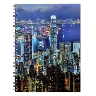Hong Kong night skyline Spiral Notebook