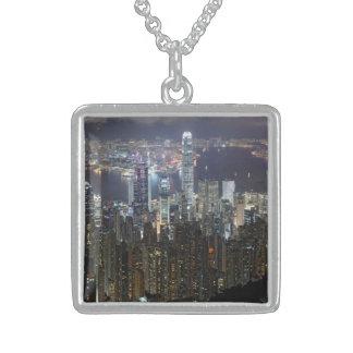 Hong Kong Night Skyline Square Pendant Necklace